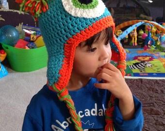 Monster Crochet Hat, Halloween hat, Halloween prop, crochet newborn hat, baby hat, earflap hat, photo prop - Infant to Adult sizes