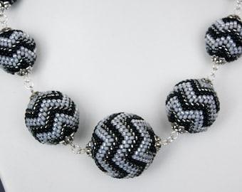 Office Elegance. Beaded beads, beadwork, grey, beaded necklace
