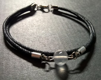 Quartz bracelet man, Mens rope bracelet, natural stone bracelet surfer jewelry