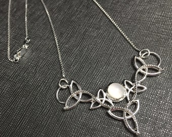 Celtic Knot Irish Boho Necklace 18 inch Box Chain Sterling Silver, Handmade Celtic Necklace, Choice of Cabochon Gemstone, OOAK Boho Necklace