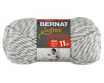 GREY RAGG Bernat Softee Chunky Yarn. A thick Medium Grey w/ Soft White Super Bulky 100% Acrylic yarn. Works up quick in knit or crochet <