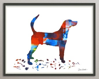 english foxhound art print watercolor print  silhouette painting print poster wall art decor drawing, dog wall art silhouette