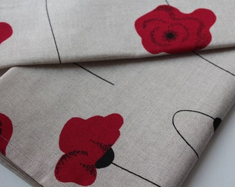 """Set of Two Linen Kitchen Towels """"Linen Poppies"""""""