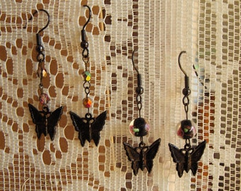 Victorian Butterfly Earrings - Rustic Gothic Earrings, Haunted Rural Dark Midwest Steampunk