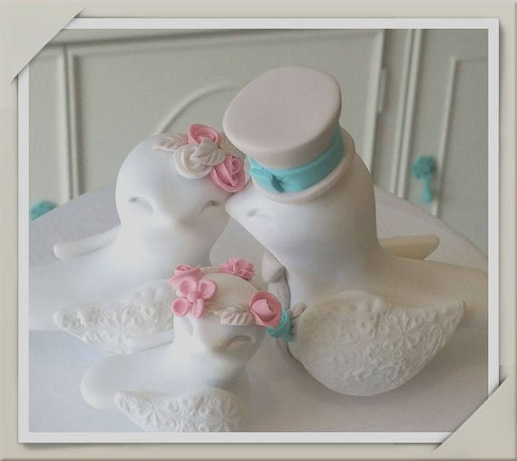 Family Love Birds Wedding Cake Topper, White, Bubblegum Pink, Aqua and Beige - Bride and Groom Keepsake, Fully Custom
