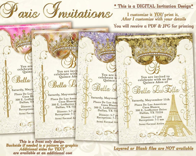 Paris Bling Party Invitations
