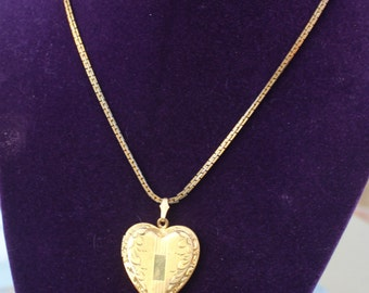 Vintage Double Heart Locket Necklace