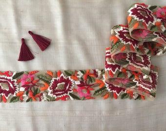 Autumn Floral Embroidery Net Trim,Indian Embroidery Handmade Lace Maroon Pink Orange Flowers,sequins zari threadwork,Sari Border,6cm W