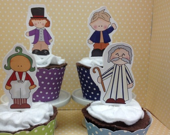 Willy Wonka Party Cupcake Topper Decorations - Set of 10