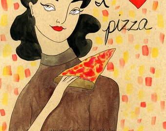 I love Pizza 8x10 vintage inspired print by Amanda Atkins