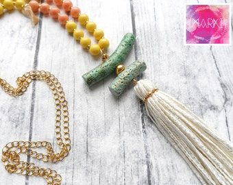 Boho necklace, tassel necklace, summer necklace, colorful necklace, ceramic beads, yellow, green, long everyday necklace, gift for her, chic
