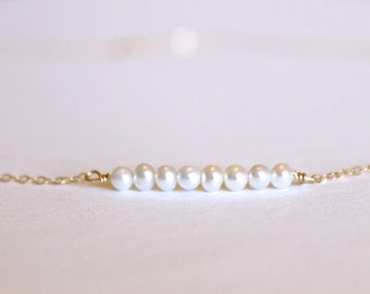 Fresh Water Pearl Necklace - 14k Gold, Rose Gold or Sterling Silver - Bead Bar Necklace - Small Pearls - June Birthstone - Layering - Tiny