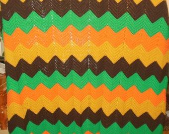 Hand Knit Afghan Zigzag Dark Green Brown Orange Tan 59 x 72 Vintage Bedspread Blanket Throw