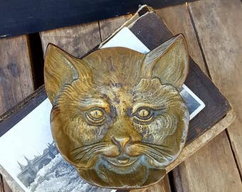 Vintage Brass Cat Coin Dish, Ring Bowl