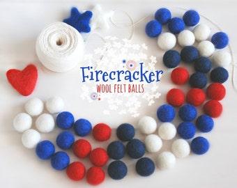 Firecracker Felt Balls  - 100% Wool Felt Balls - 50 Wool Felt Balls -2cm Felt Balls - 4th of July Garland - USA Colors - Patriotic Garland