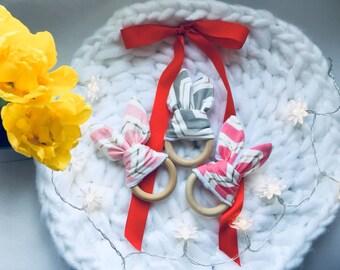 Teether, Teether ring, Teether toy, Teething toy, Teething ring, Wood ring, Bunny ears teether, New baby gift, Baby shower gift, Teething,