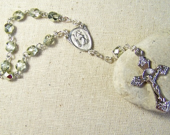 handmade Catholic pocket rosary tenner with light sage green metallic beads in silver