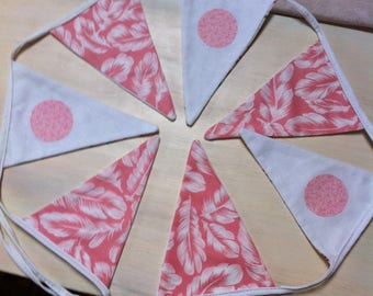 seven Bunting in pink and white pattern