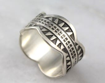 Stamped Scalloped Industrial Pattern Sterling Silver Band Ring