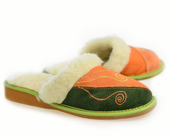 Items Similar To Leather Slippers Women Womens, 100% Wool