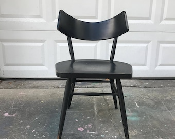 Paul Mccobb Style Planner Chair- Mid Century Modern Curved Sculptural Back,  Wooden Occasional Accent Desk Chair