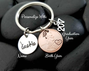 Graduation Gift - Graduation Keychain - Class of 2017 - Graduation Jewelry - Personalized Keychain - Custom Keychain - Gift for Grad