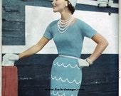 1950s Vogue Elegant Blue Boucle Knitted Dress Pattern PDF 111