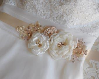Wedding Dress Sash, Bridal Sash, Champagne Sash, Bridal Belt, Wedding belt, Flower sash, Bridal Dress Belt, Bridal Flower Sash , Fascinator