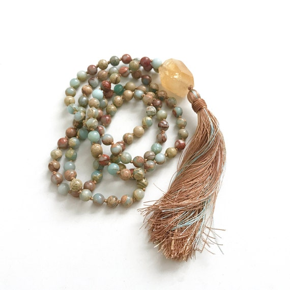 MALA FOR CREATIVITY - Citrine Mala Beads - African Opal Mala Necklace - Yoga Meditation Beads - Knotted Mala - Prayer Beads - Mantra Mala