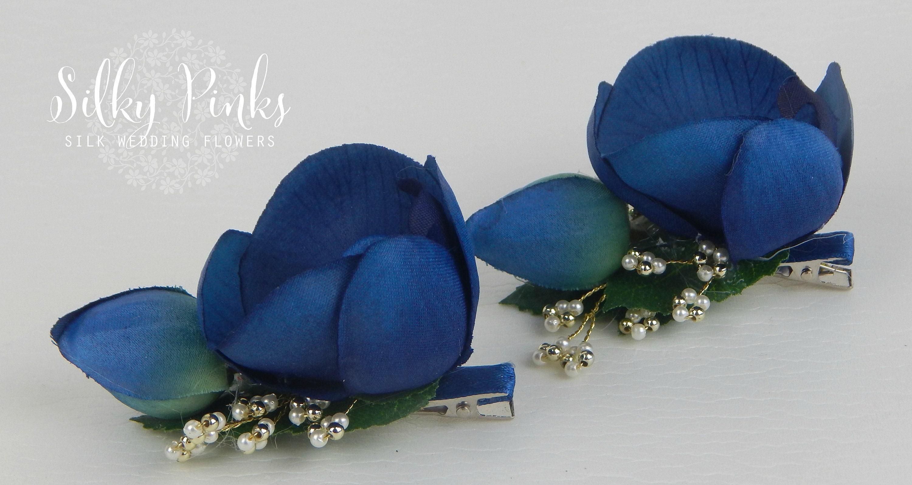 Blue hair clips orchid hair accessories wedding hair zoom izmirmasajfo