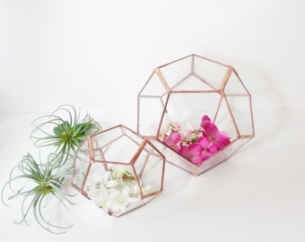 Wedding Decor, Geometric Glass Terrarium, Gift For Girlfriend, Dodecahedron,  Modern Terrarium, Indoor Gardening.