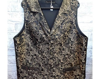 """Men's Brocade Vest, Men's Brocade Waistcoat,Men's Trees Of Gold Brocade Vest With lapels, Wedding Vest, Wedding Waistcoat, 42""""-44"""" Chest"""