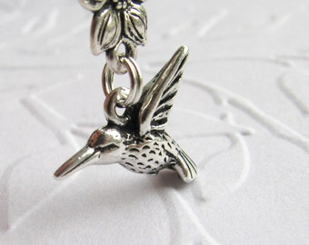 Hummingbird necklace with a sweet flower, antiqued silver pewter, humming bird charm, garden gardening, ornithology