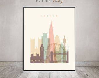 London print, London poster, Wall art, cityscape, London skyline, City poster, Typography art, Gift, Home Decor, Travel, ArtPrintsVicky