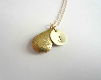 Personalized locket necklace Initial charm locket Gold teardrop locket Wedding Bridesmaid gift Gold fill chain Monogram locket Gold locket