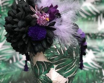 Purple and black flower pom pom and feather headband