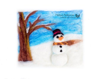 Set of 5 Holiday Cards made from Needle Felted Sceneries