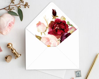 Envelope Liners, Envelope Liner Printable, Floral Envelope Liner, Marsala Envelope Liner, Envelope Liner Template, A7, Triangle, Square