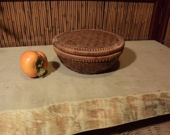 Vintage Asian Bamboo Straw Basket With Lid