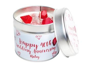 40th Year Wedding Anniversary Candle Tin - Ruby