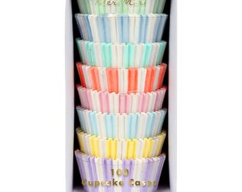 Pastel Rainbow Cupcake Cases 100 Pack Cupcake Accessories for Childrens Birthday Parties Baby Showers Gift for Bakers