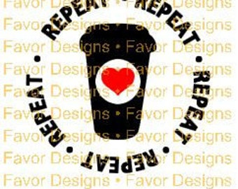 Coffee Repeat Heart SVG JPEG Cut File, Silhouette, Circuit, Digital Download, Coffee Svg, Svg Cut Files, Circuit File, Svg, Svgs, Clip Art