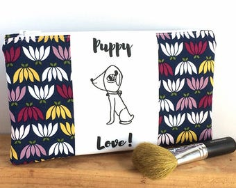 DOG MAKEUP BAG - Cute Zipper Pouch - Pencil Pouch - Foral Zipper Pouch - Small Makeup Bag - Gift for Her - Art Supply Bag