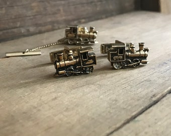 Vintage Steam Engine Train Cuff Links and Tie Tack