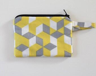 small zipper pouch, Pocket wallet, Change purse, cash wallet, earbud case, Gray bag, mom purse, chapstick holder, keychain fob, geometric