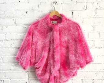vintage 90s fuzzy cropped sweater / shaggy neon pink raver top / shaggy rave sweater