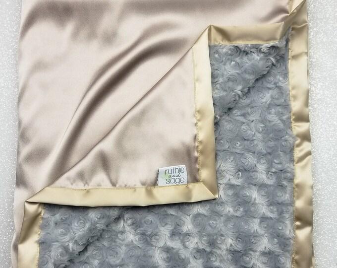 Minky Blanket, Baby Boy, Unisex Baby blanket, Gold Grey, Satin Blanket, Silk Blanket, Plush Minky, Rose minky, Silver and Gold, Tan and grey