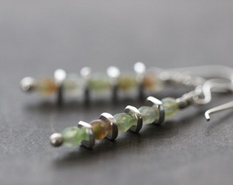 Boho Czech Glass Earrings, Sage Green, Amber, Rustic, Sterling Silver, Dangle Earrings, Glass Earrings, Cottage Chic, Boho Chic, Rus