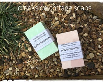Pea Blossoms and Spring Meadows Goat Milk Soaps, Two Bars