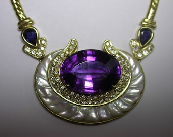 Amethyst, Sapphire, Diamond and Mother of Pearl Necklace